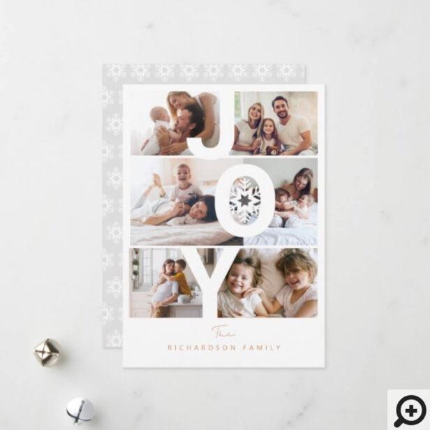Modern Photo Layout Joy Typographic Snowflake Holiday Card