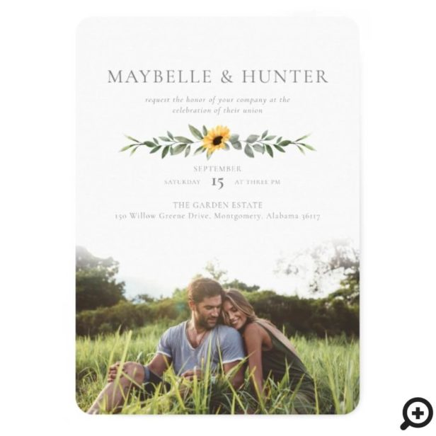 Modern Yellow Watercolor Sunflowers Photo Wedding Invitation