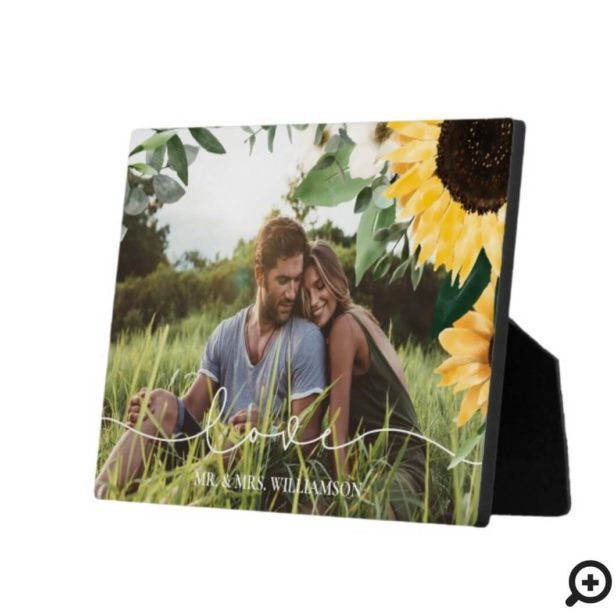 Modern Yellow Watercolor Sunflowers Photo Wedding Plaque