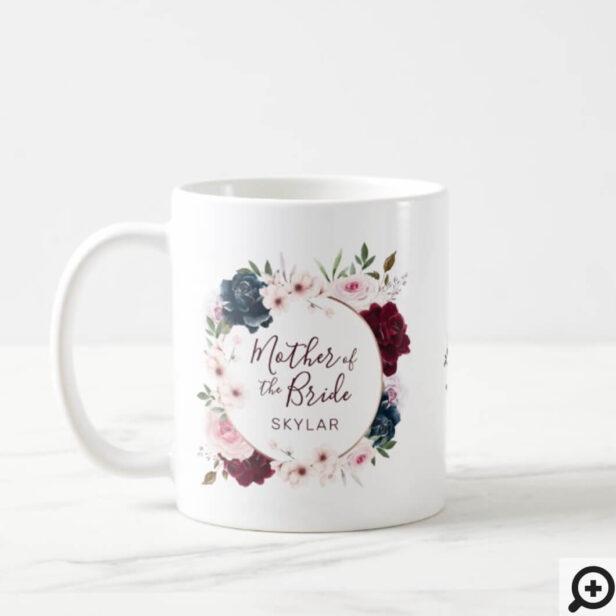 Mother of Bride Red & Navy Rose Watercolor Wreath Coffee Mug