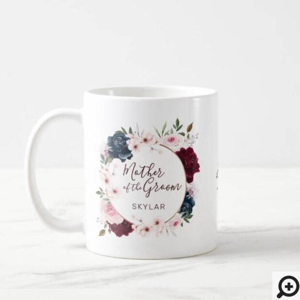 Mother of Groom Red & Navy Rose Watercolor Wreath Coffee Mug