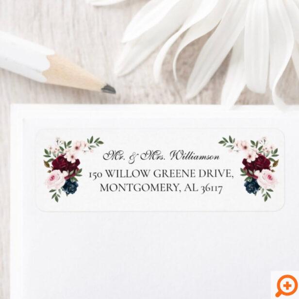 Mr & Mrs Elegant Burgundy Navy Watercolor Florals Label