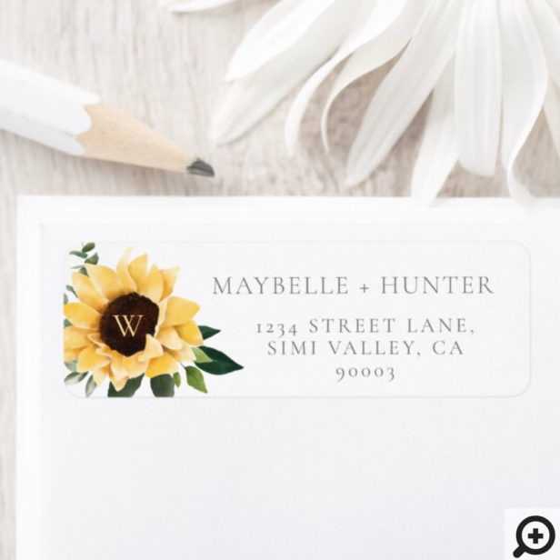 Mr. & Mrs. Watercolor Sunflowers & Wildflower Label