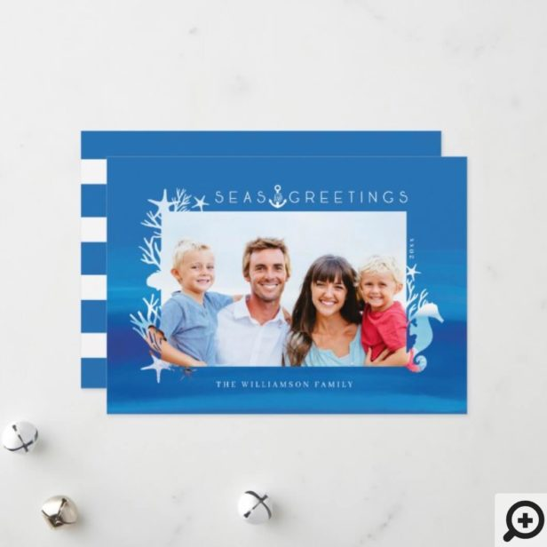 Nautical Blue Seas & Greetings Ocean Photo Frame Holiday Card