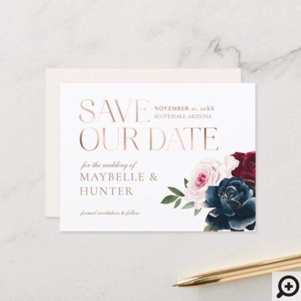 Navy Burgundy Watercolor Rose Gold Save Our Date Announcement Postcard