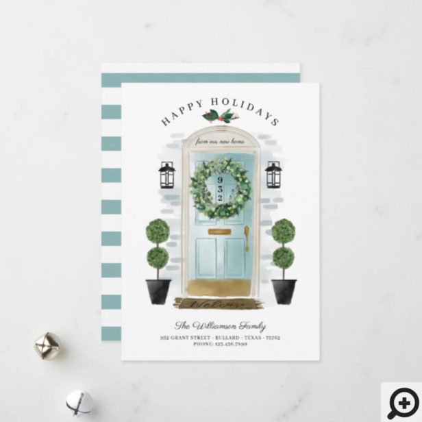 New Home For the Holidays Aqua Watercolor Door Holiday Card