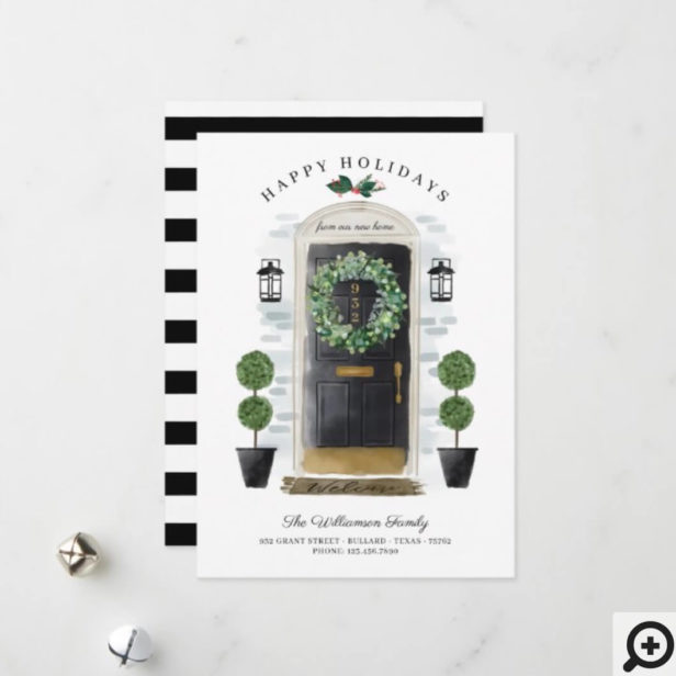 New Home For the Holidays Black Watercolor Door Holiday Card