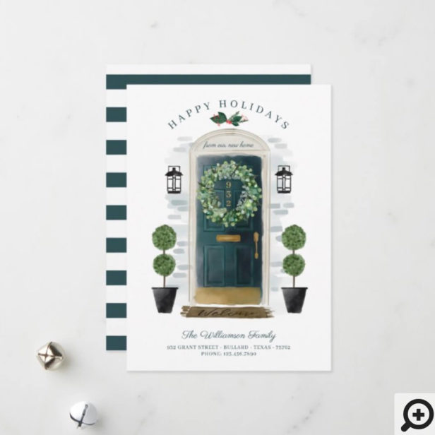 New Home For the Holidays Green Watercolor Door Holiday Card