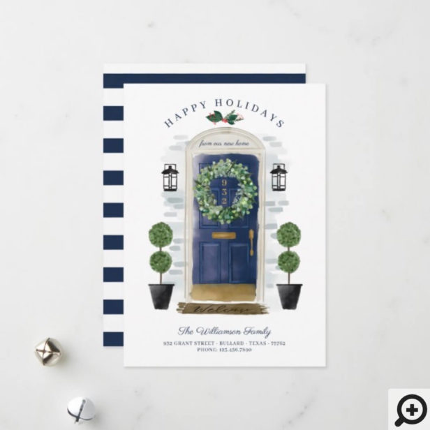 New Home For the Holidays Navy Watercolor Door Holiday Card