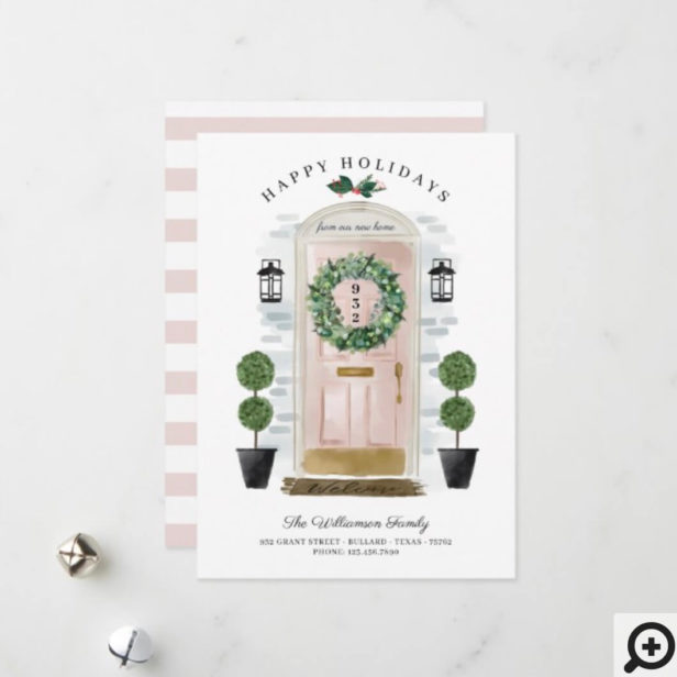New Home For the Holidays Pink Watercolor Door Holiday Card