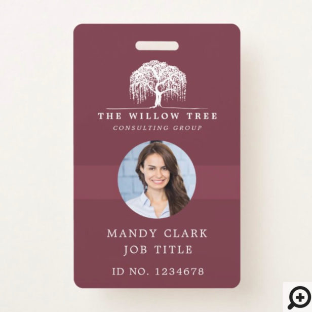 Rustic Burgundy & White Willow Tree Logo Photo Badge