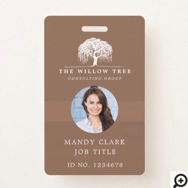 Rustic Modern Brown & White Willow Tree Logo Photo Badge