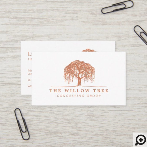 Rustic Modern Brunt Orange Willow Tree Logo Business Card