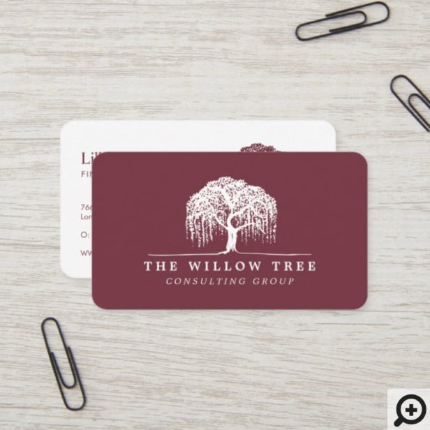 Rustic Modern Burgundy & White Willow Tree Logo Business Card