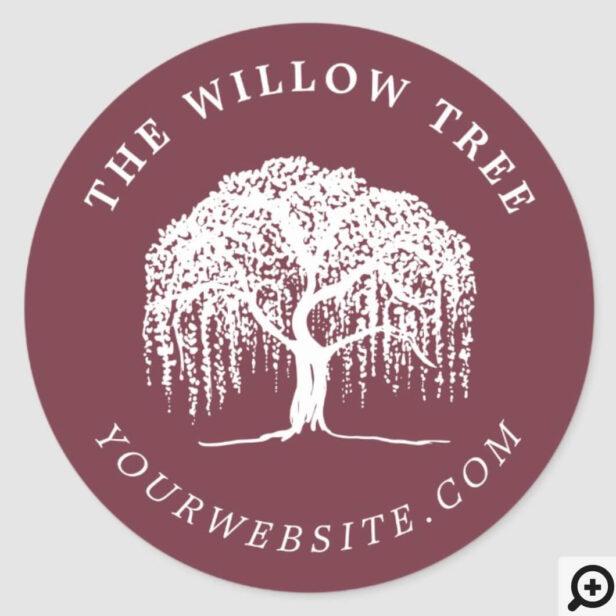 Rustic Modern Burgundy & White Willow Tree Logo Classic Round Sticker