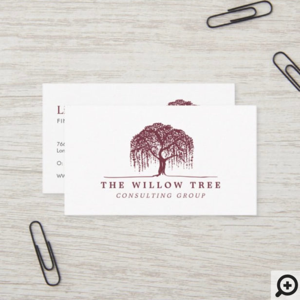 Rustic Modern Burgundy Willow Tree Logo Business Card