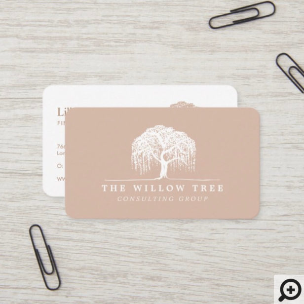 Rustic Modern Cream Blush & White Willow Tree Logo Business Card