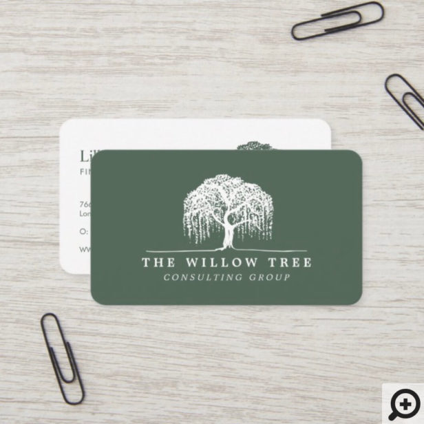 Rustic Modern Green & White Willow Tree Logo Business Card