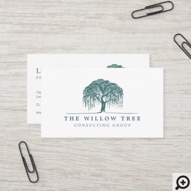 Rustic Modern Green Willow Tree Logo Business Card
