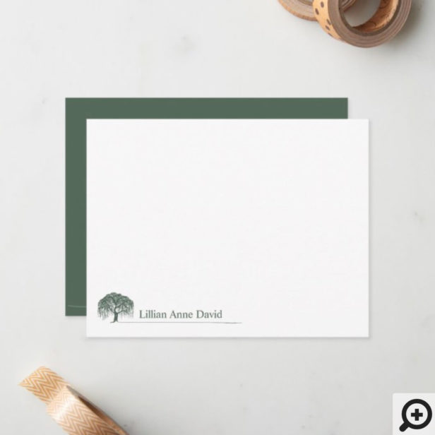 Rustic Modern Green Willow Tree Logo Personalized Note Card