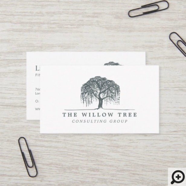 Rustic Modern Grey Willow Tree Logo Business Card