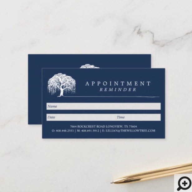 Rustic Modern Navy Blue & White Willow Tree Logo Appointment Card