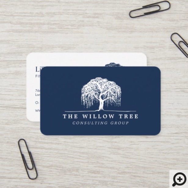 Rustic Modern Navy Blue & White Willow Tree Logo Business Card