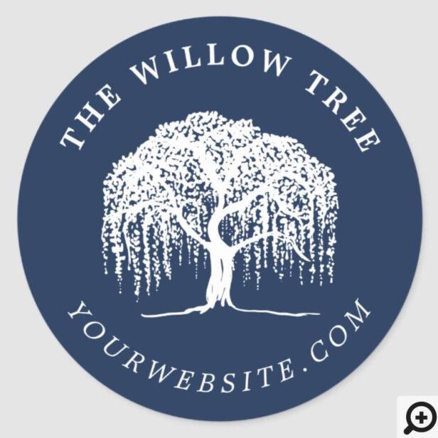 Rustic Modern Navy Blue & White Willow Tree Logo Classic Round Sticker