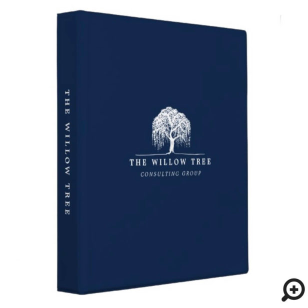 Rustic & Modern Navy Blue Willow Tree Logo 3 Ring Binder