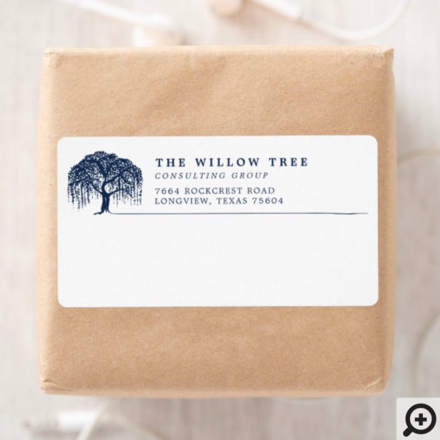 Rustic Modern Navy Blue Willow Tree Logo Label