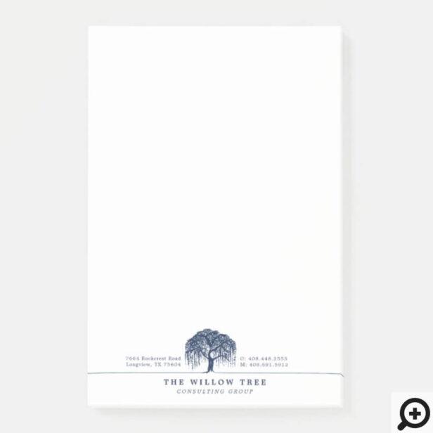 Rustic Modern Navy Blue Willow Tree Logo Letterhea Post-it Notes