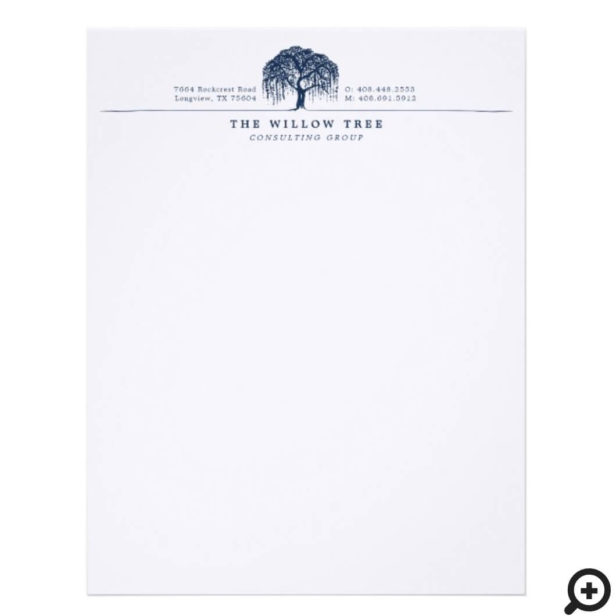 Rustic Modern Navy Blue Willow Tree Logo Letterhead