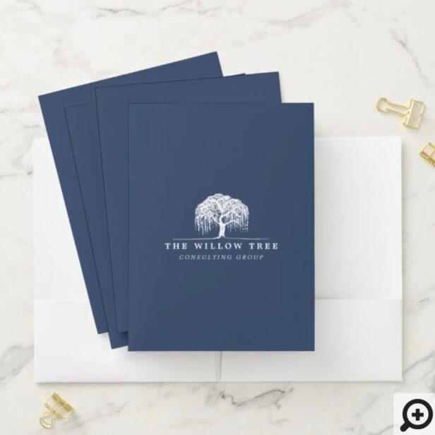 Rustic & Modern Navy Blue Willow Tree Logo Pocket Folder