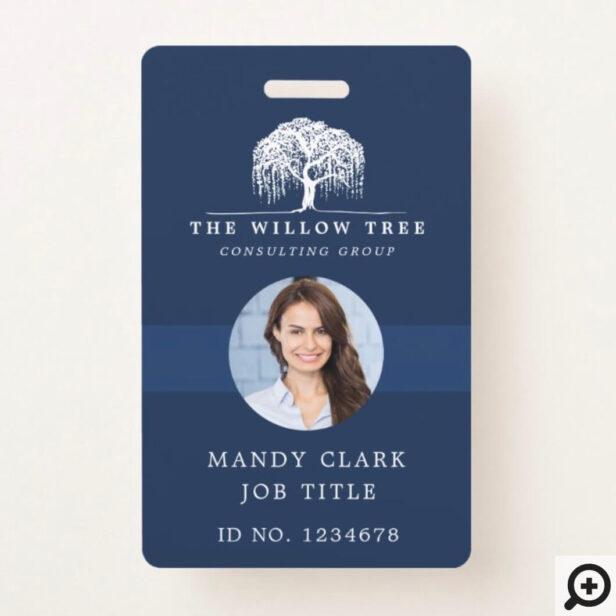 Rustic Modern Navy & White Willow Tree Logo Photo Badge