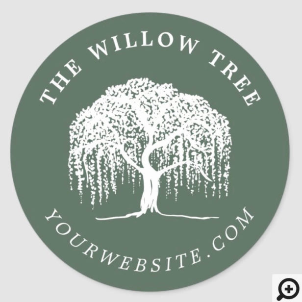 Rustic Modern Olive Green & White Willow Tree Logo Classic Round Sticker