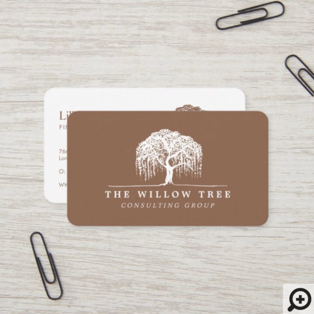 Rustic Modern Tan Brown & White Willow Tree Logo Business Card