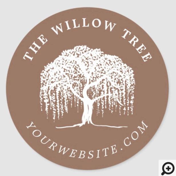Rustic Modern Tan Brown & White Willow Tree Logo Classic Round Sticker