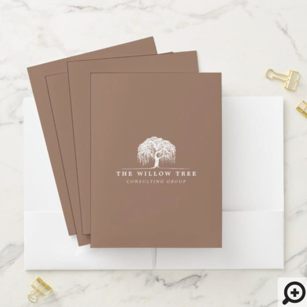 Rustic & Modern Tan Brown Willow Tree Logo Pocket Folder