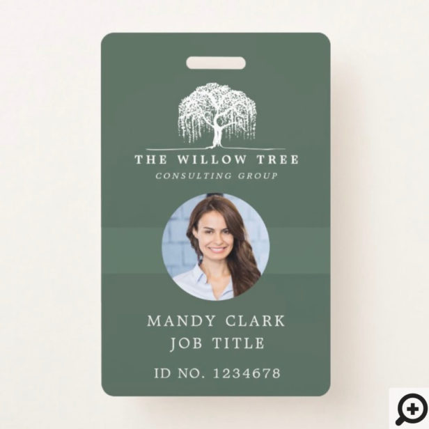 Rustic Olive Green & White Willow Tree Logo Photo Badge