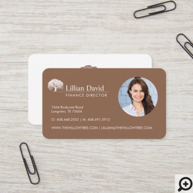 Rustic Tan Brown & White Willow Tree Logo Photo Business Card