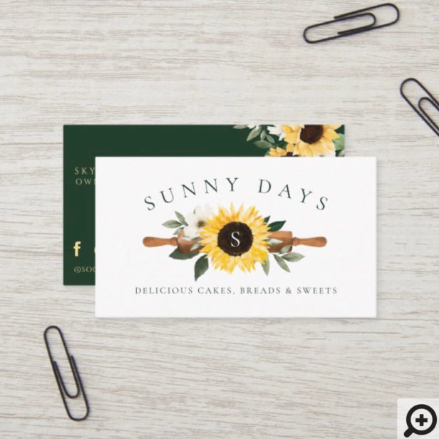 Rustic Wooden Rolling Pin Yellow Sunflower Bakery Business Card