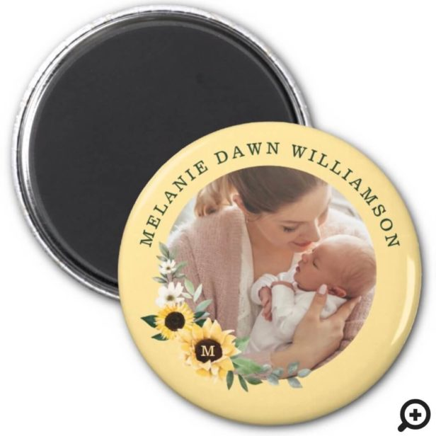 Chic Watercolor Sunflower Florals Baby Birth Photo Magnet