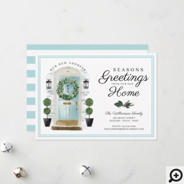 Seasons Greetings New Home Aqua Watercolor Door Holiday Card