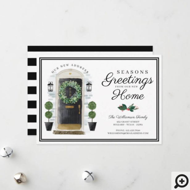 Seasons Greetings New Home Black Watercolor Door Holiday Card