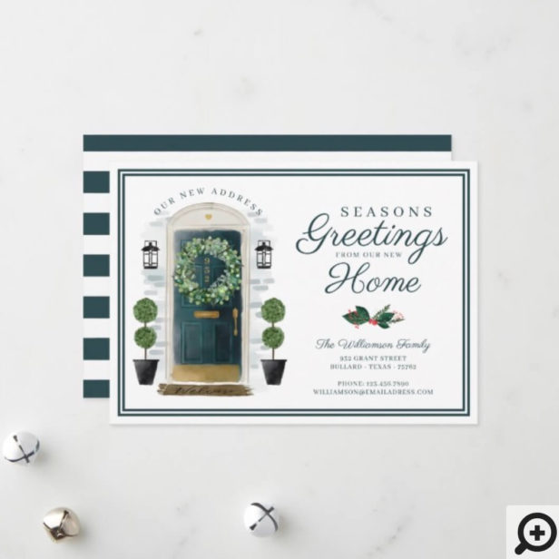 Seasons Greetings New Home Green Watercolor Door Holiday Card