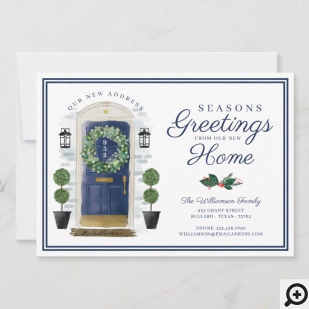 Seasons Greetings New Home Navy Watercolor Door Holiday Card