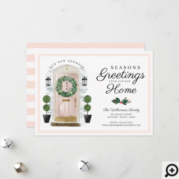 Seasons Greetings New Home Pink Watercolor Door Holiday Card