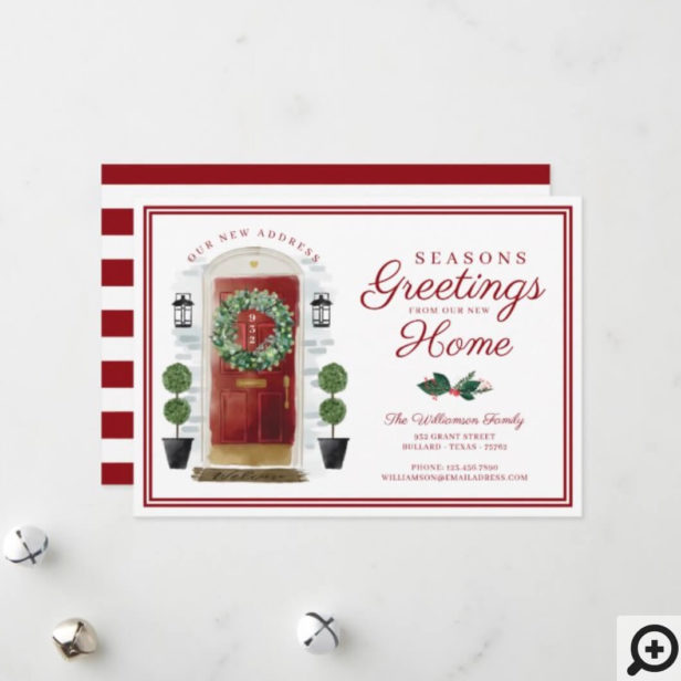 Seasons Greetings New Home Red Watercolor Door Holiday Card
