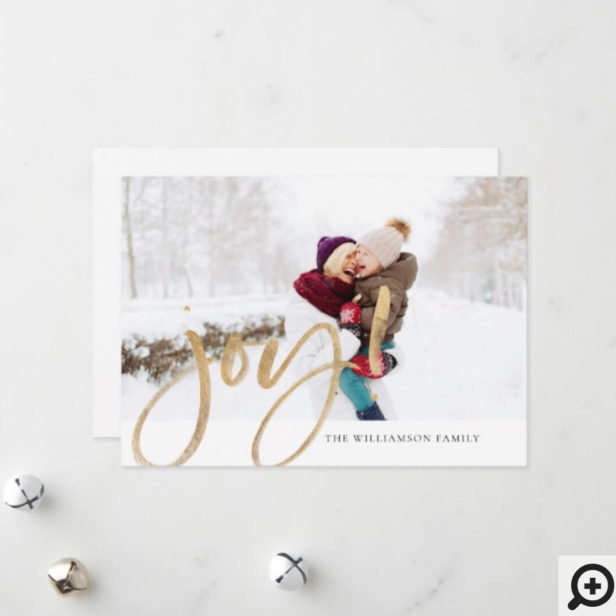 Shimmer Gold Foil Joy Typographic Full Photo Holiday Card