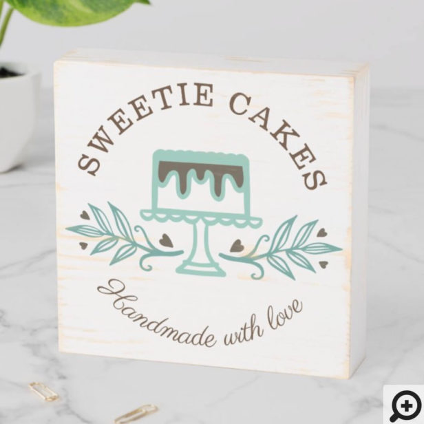 Simple, Clean & Minimal Style Bakery Cake Logo Wooden Box Sign